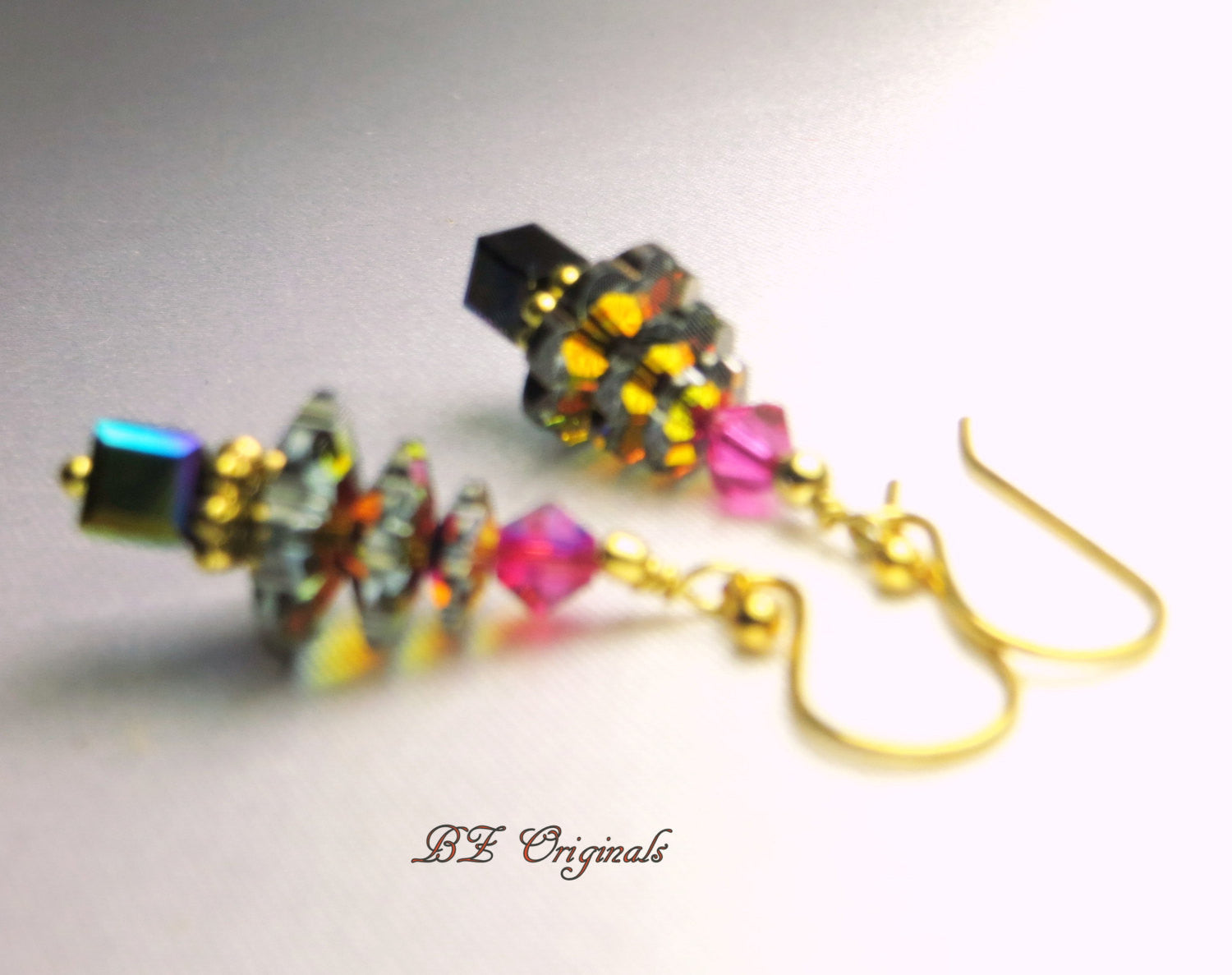 Small Christmas Tree Earrings in Swarovski Heliotrope Blue and Purple on 14k Fill - Odyssey Creations