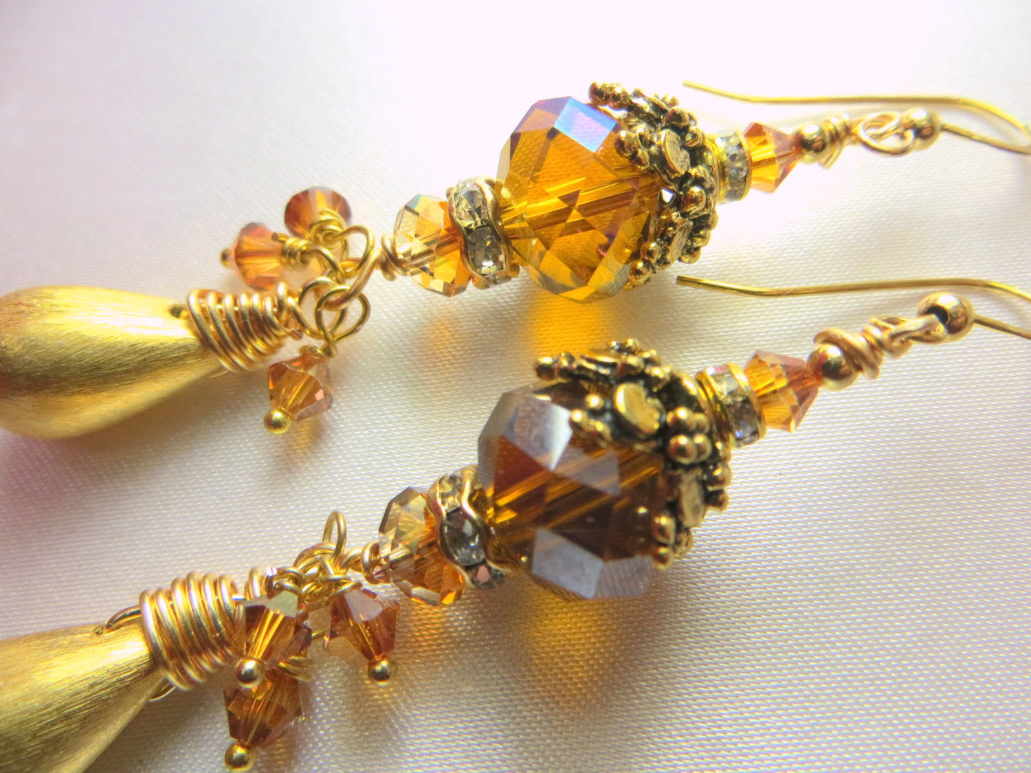 Swarovski Crystal Copper Large Rondelles with 22k plated Brushed Gold Drops - Odyssey Creations