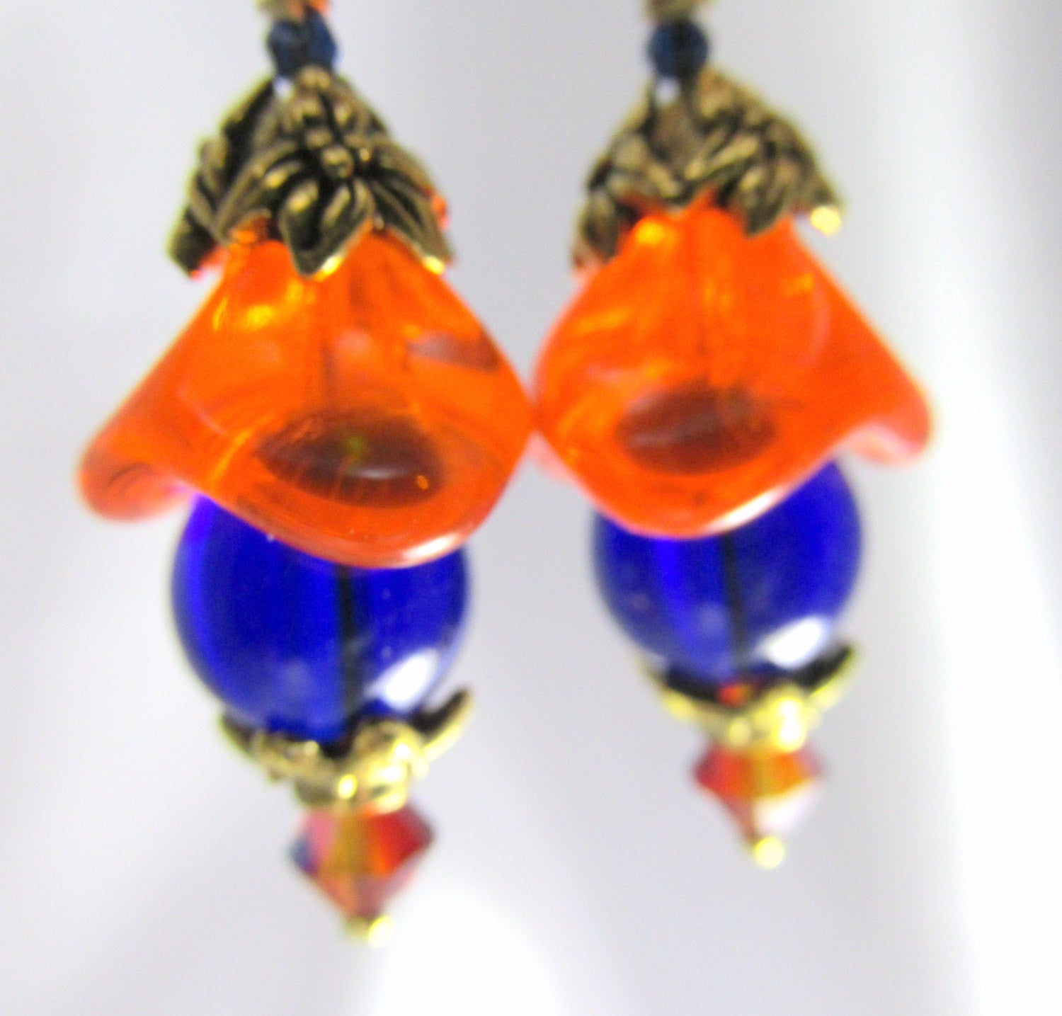 Orange and Blue Czech Glass Small Flower earrings on 14k gold fill wires - Odyssey Creations