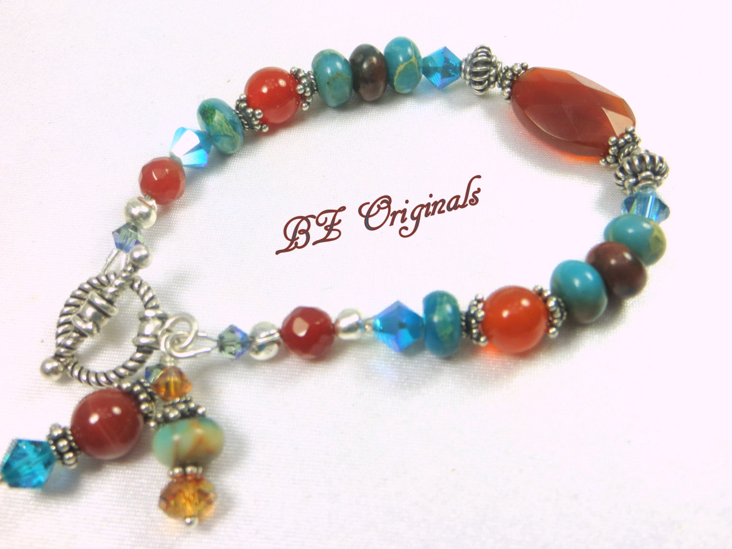Carnelian Faceted Stone and Turquoise Bracelet on all Sterling Silver - Odyssey Creations