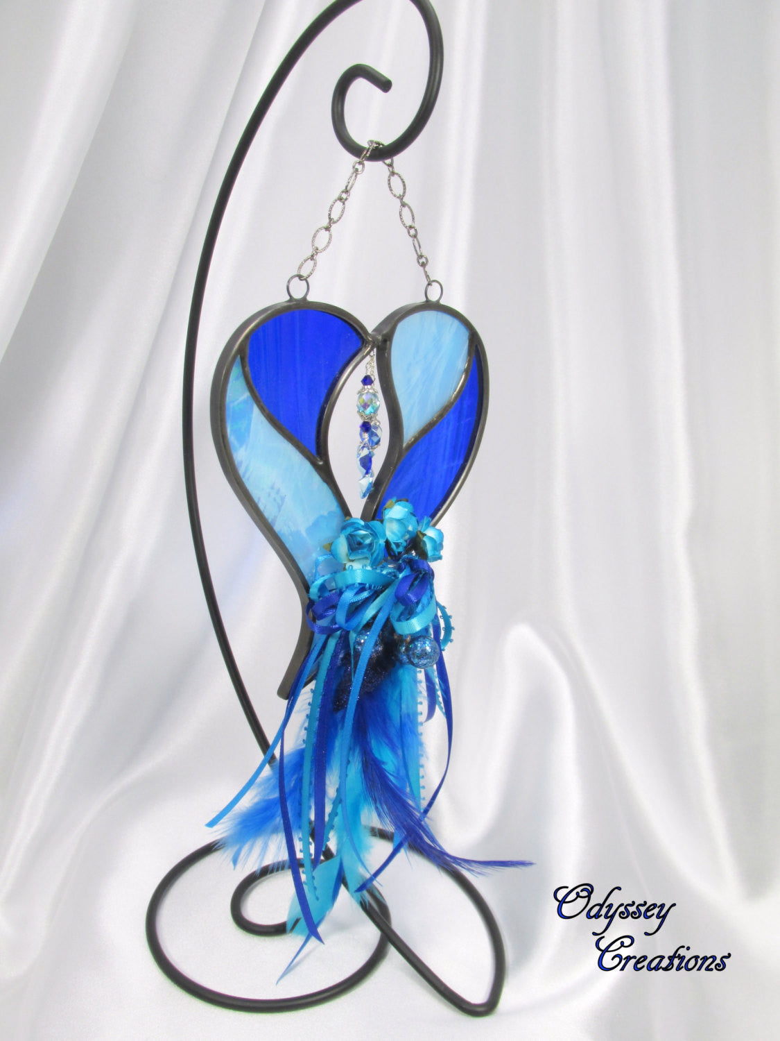 Blue and Turquoise Decorated Two Hearts as One Stained Glass Suncatcher - Odyssey Creations