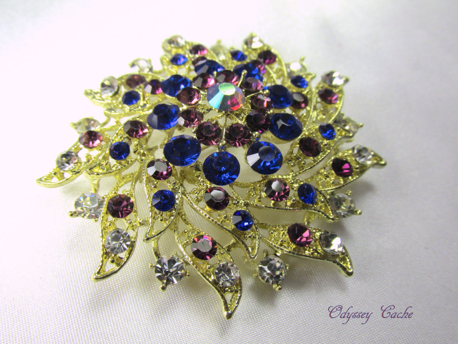 Amethyst Purple and Cobalt Blue Vintage Style Gold Brooch - Odyssey Creations