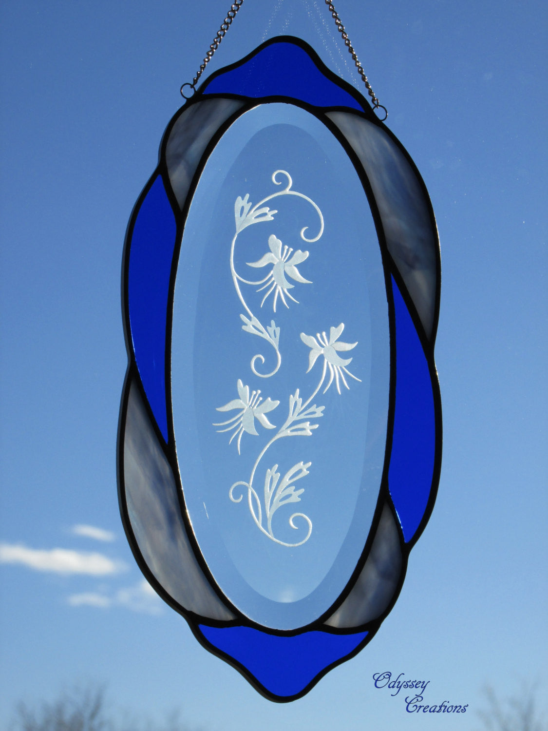 Cobalt and Light Blue Oval Sand Blasted Oval Columbine Stained Glass Suncatcher - Odyssey Creations