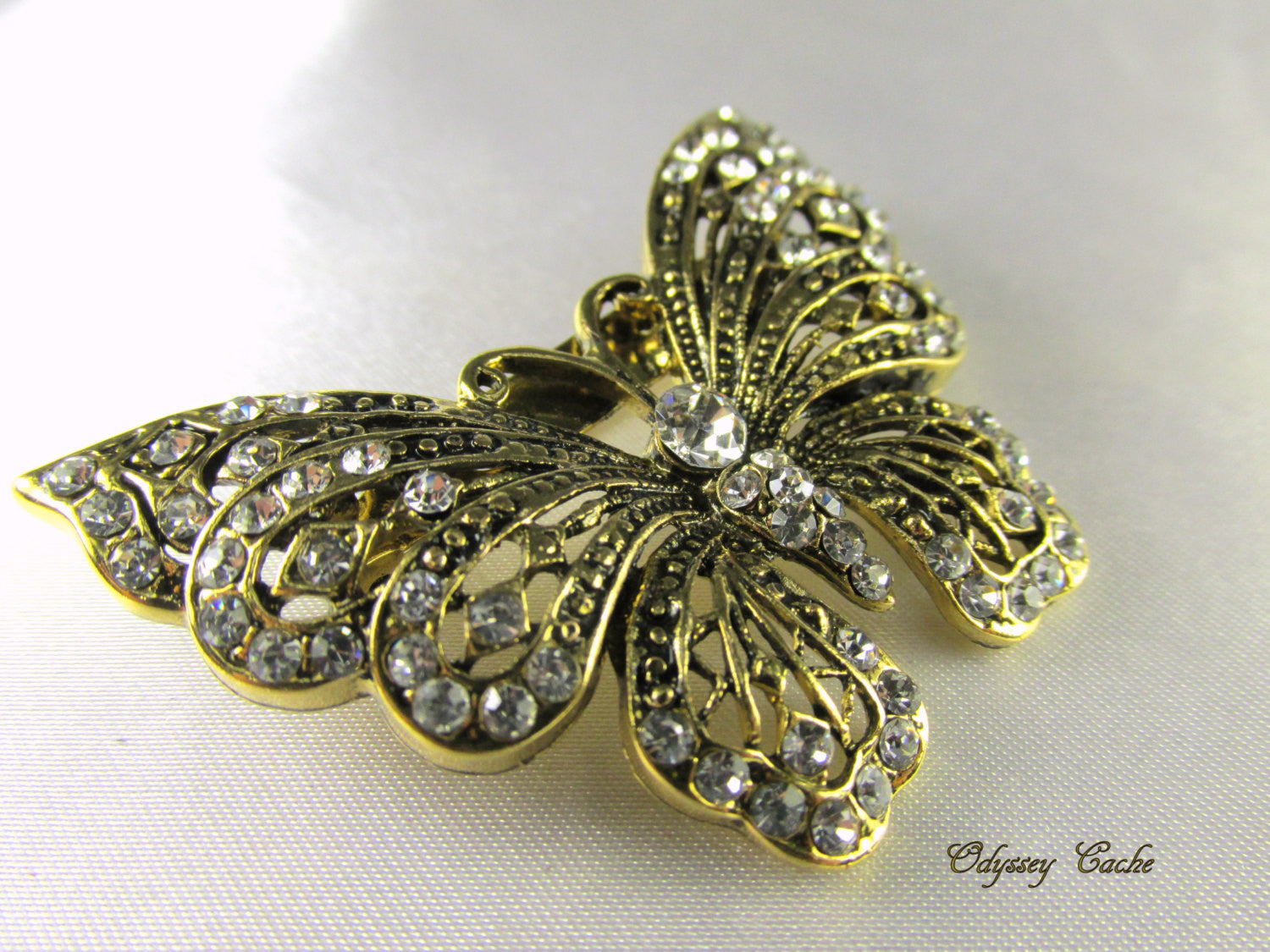 Butterfly Brooch in Antique Gold and Clear Crystals - Odyssey Creations
