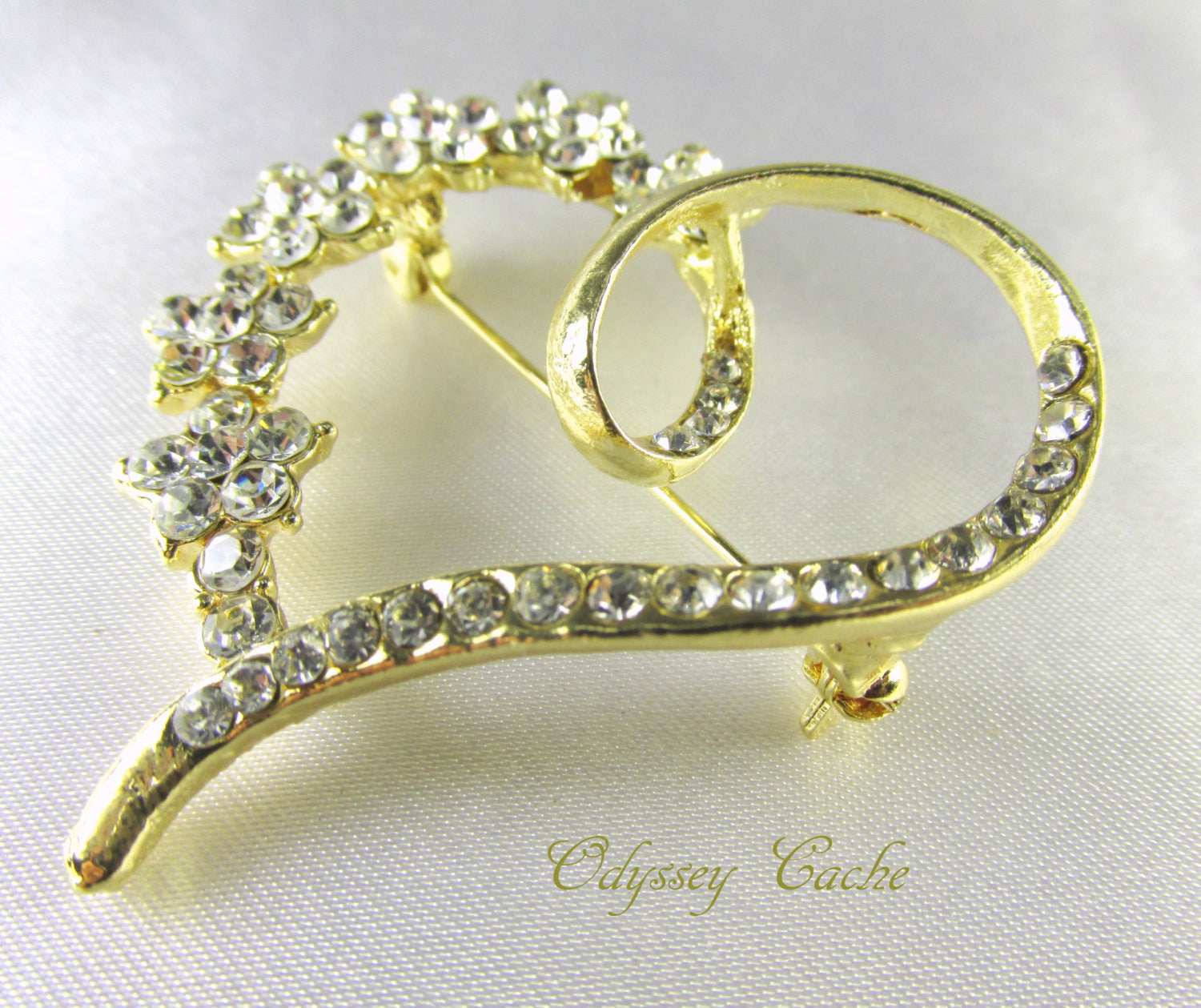 Gold Heart Brooch with Clear Crystals - Odyssey Cache - 2
