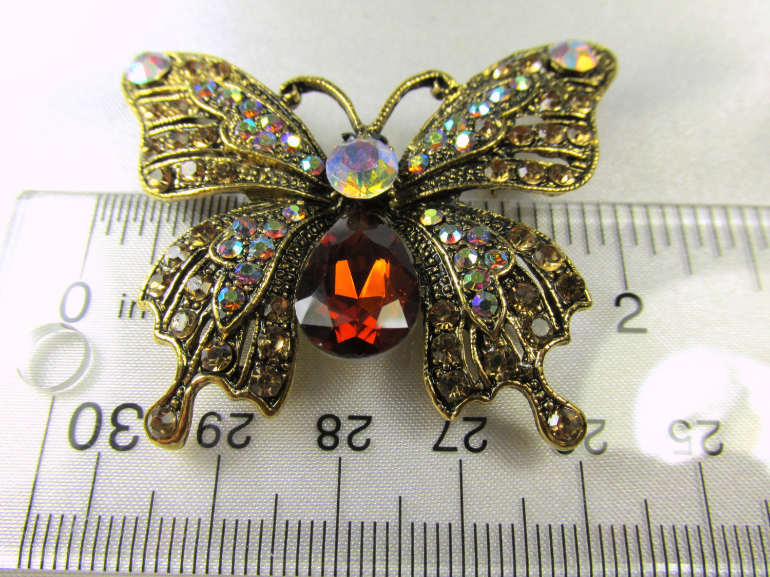 Butterfly Brooch in Topaz, Crystal AB and Antique Gold - Odyssey Cache - 2