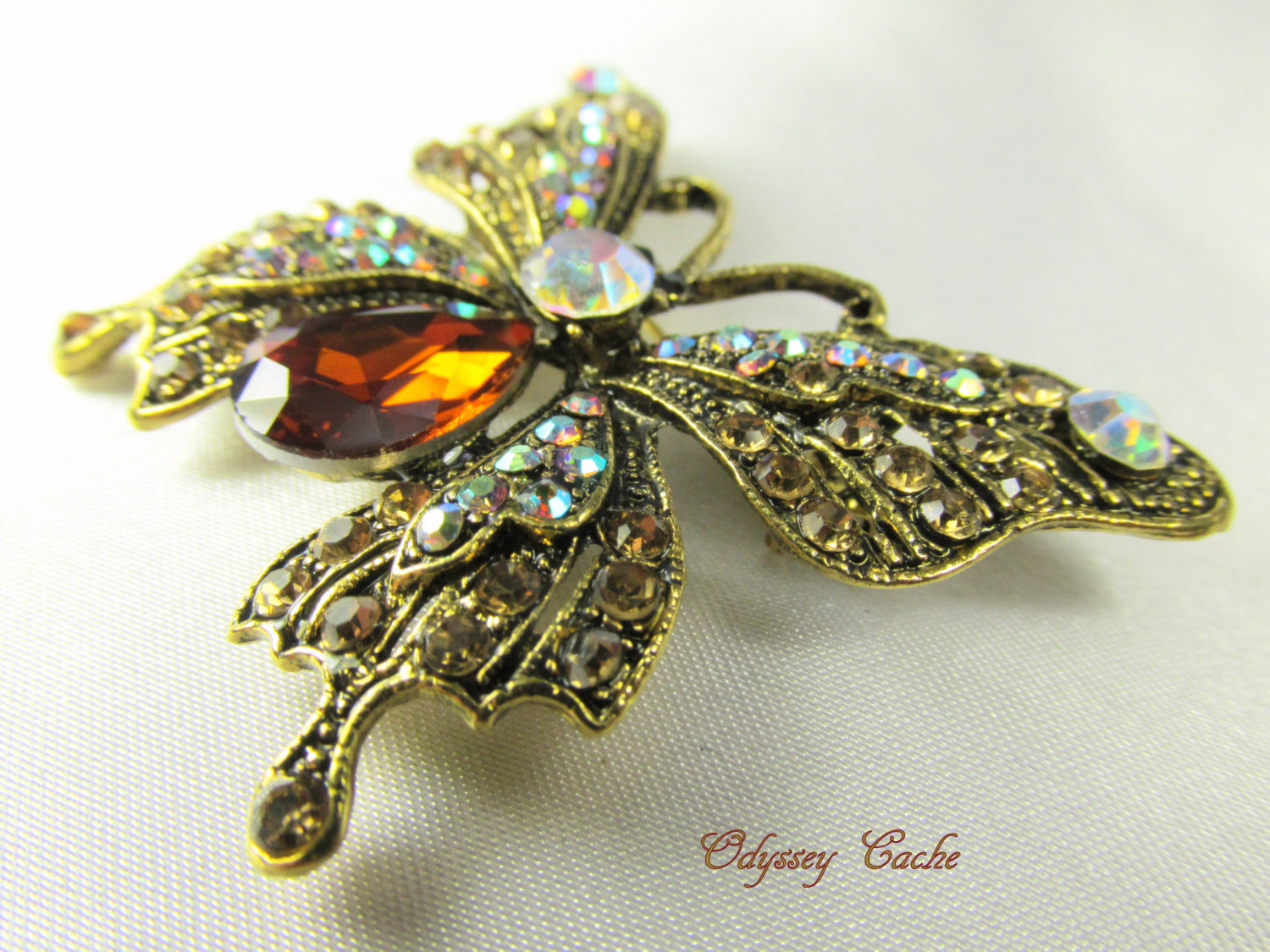 Butterfly Brooch in Topaz, Crystal AB and Antique Gold - Odyssey Cache - 1