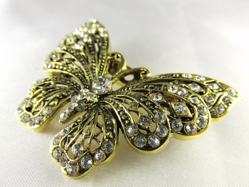 Butterfly Brooch in Antique Gold and Clear Crystals - Odyssey Cache - 1