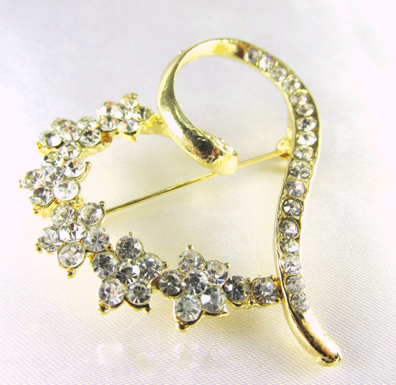 Gold Heart Brooch with Clear Crystals - Odyssey Cache - 1