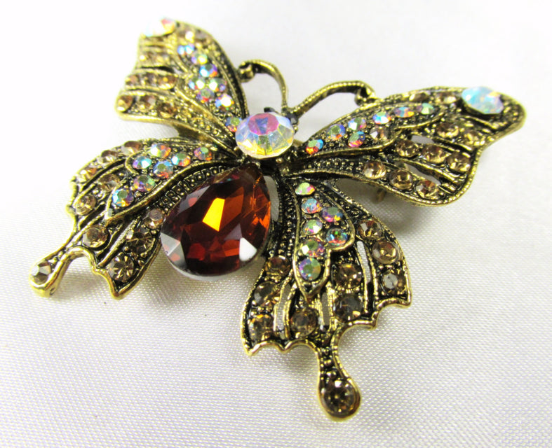 Butterfly Brooch in Topaz, Crystal AB and Antique Gold - Odyssey Creations