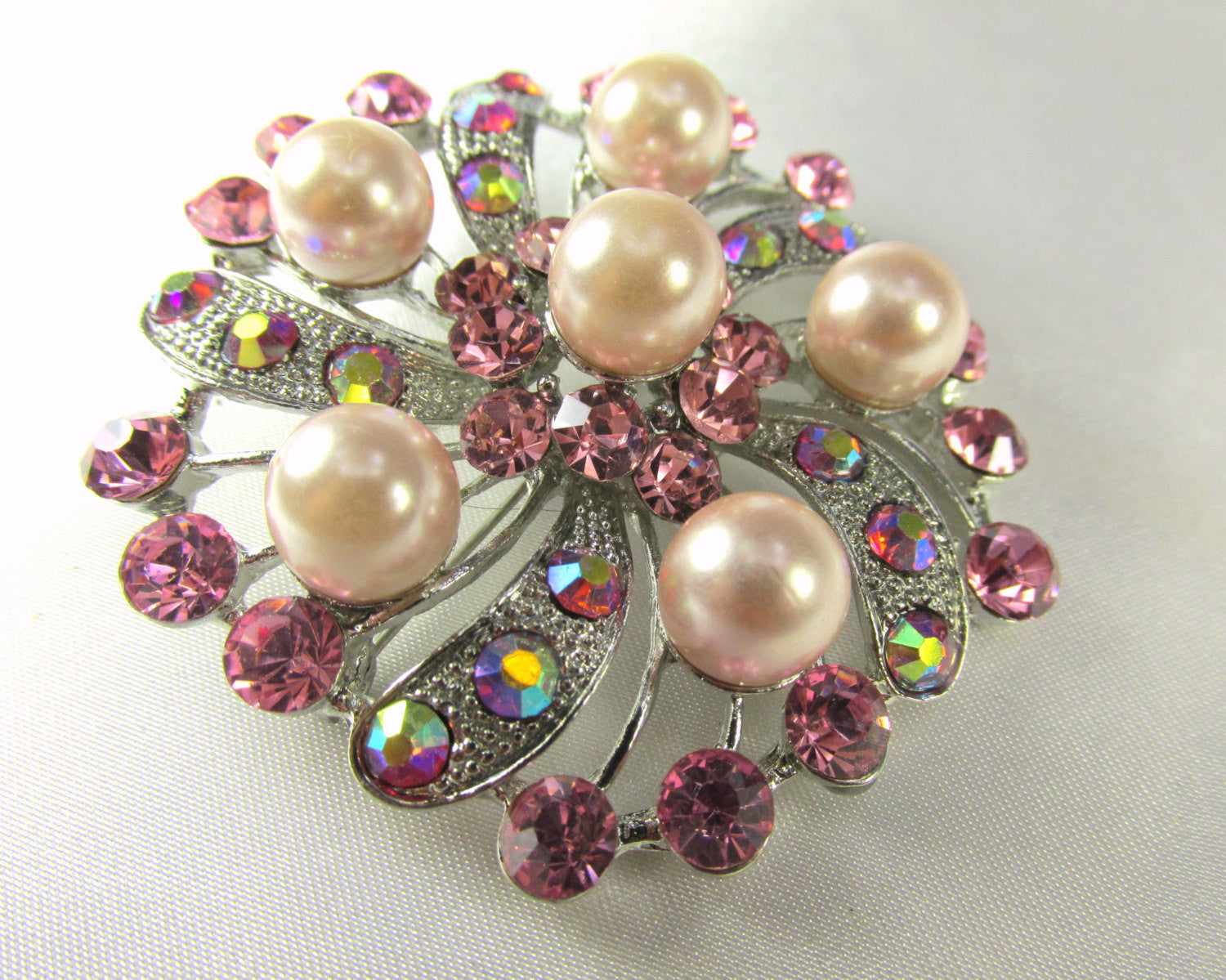 Pink Flower Pearl and Crystal Brooch in Silver - Odyssey Cache - 2