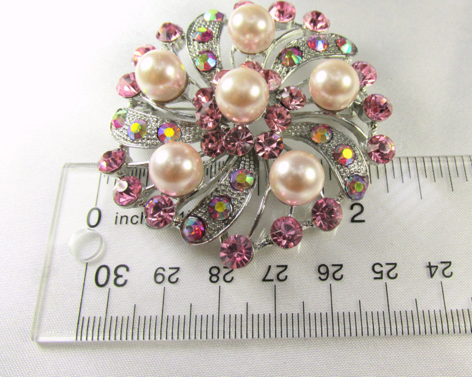 Pink Flower Pearl and Crystal Brooch in Silver - Odyssey Cache - 4