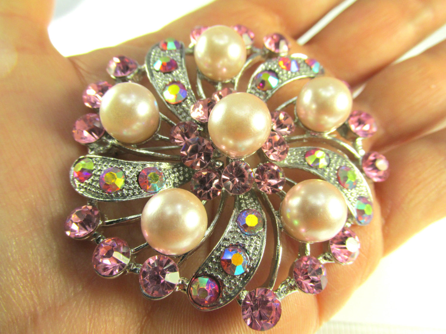 Pink Flower Pearl and Crystal Brooch in Silver - Odyssey Cache - 5