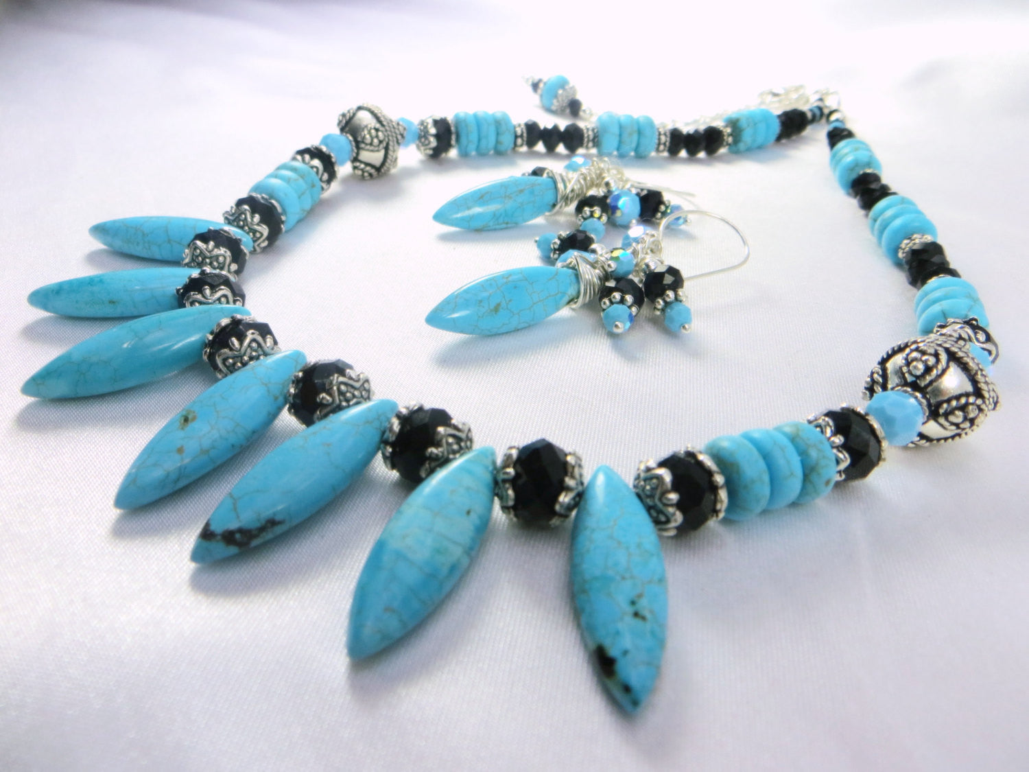 Chunky Spike Necklace in Blue Turquoise, Black and Silver - Odyssey Creations