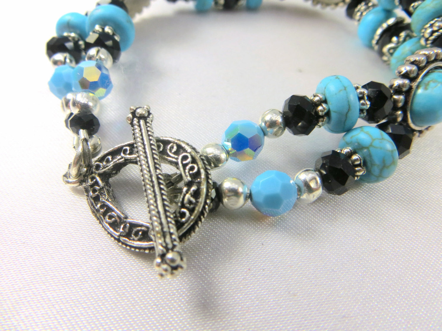 Blue Turquoise, Black and Silver Double Strand Bracelet - Odyssey Creations