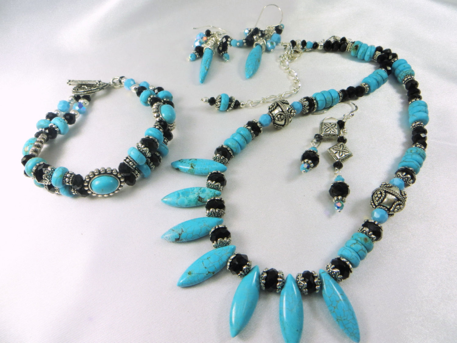 Blue Turquoise, Black and Silver Double Strand Bracelet - 7 inch medium size - can adjust size - Odyssey Creations