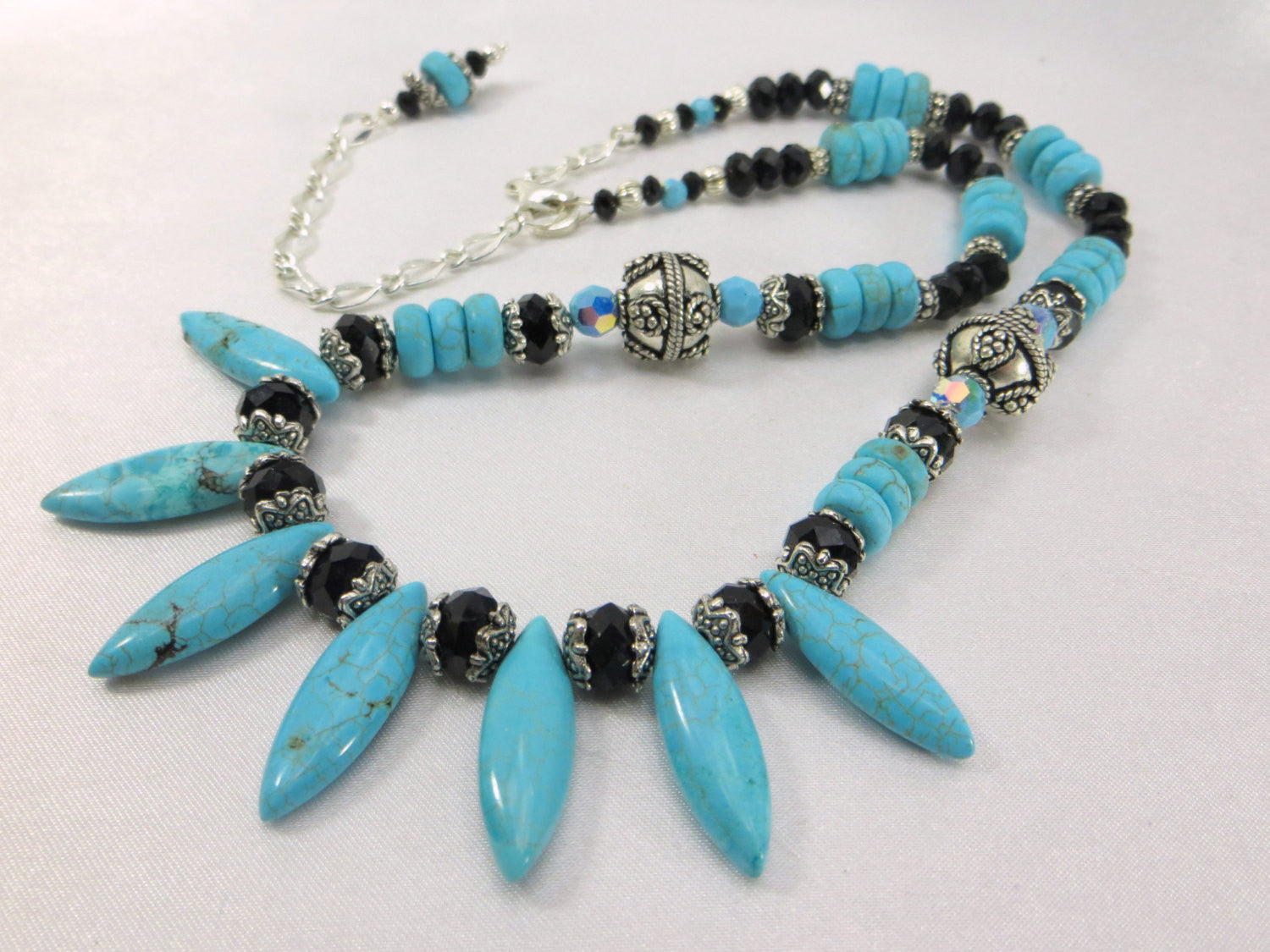 Chunky Adjustable Statement Dagger Spike Necklace in Blue Turquoise, Black Crystals and Silver - Odyssey Creations