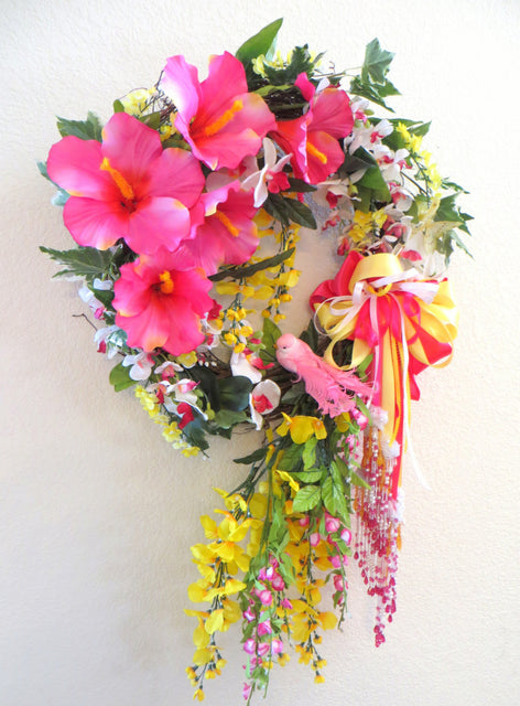 Spring Summer Wreath in Bright Raspberry Pink, Yellow and White with Victorian beaded bow, orchids, bird and butterfly - Odyssey Creations