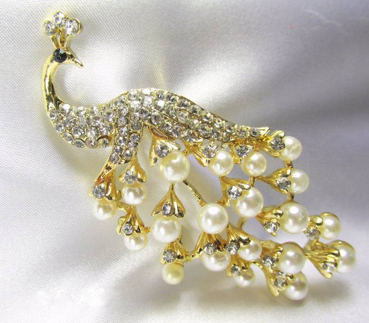 Peacock Brooch with White Pearls and Clear Crystals in Gold - Odyssey Creations
