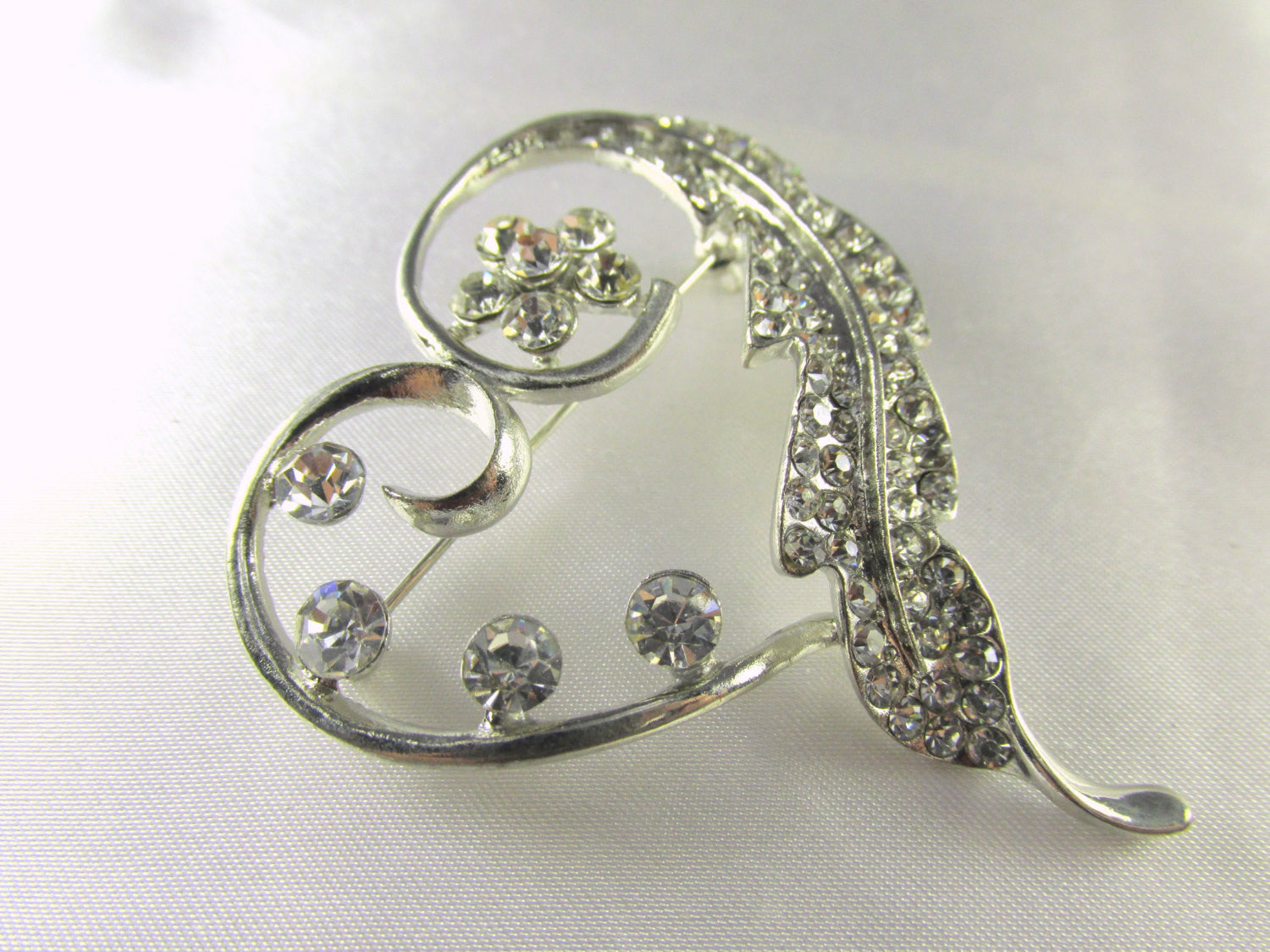 Silver Heart Brooch With Clear Crystals - Odyssey Creations