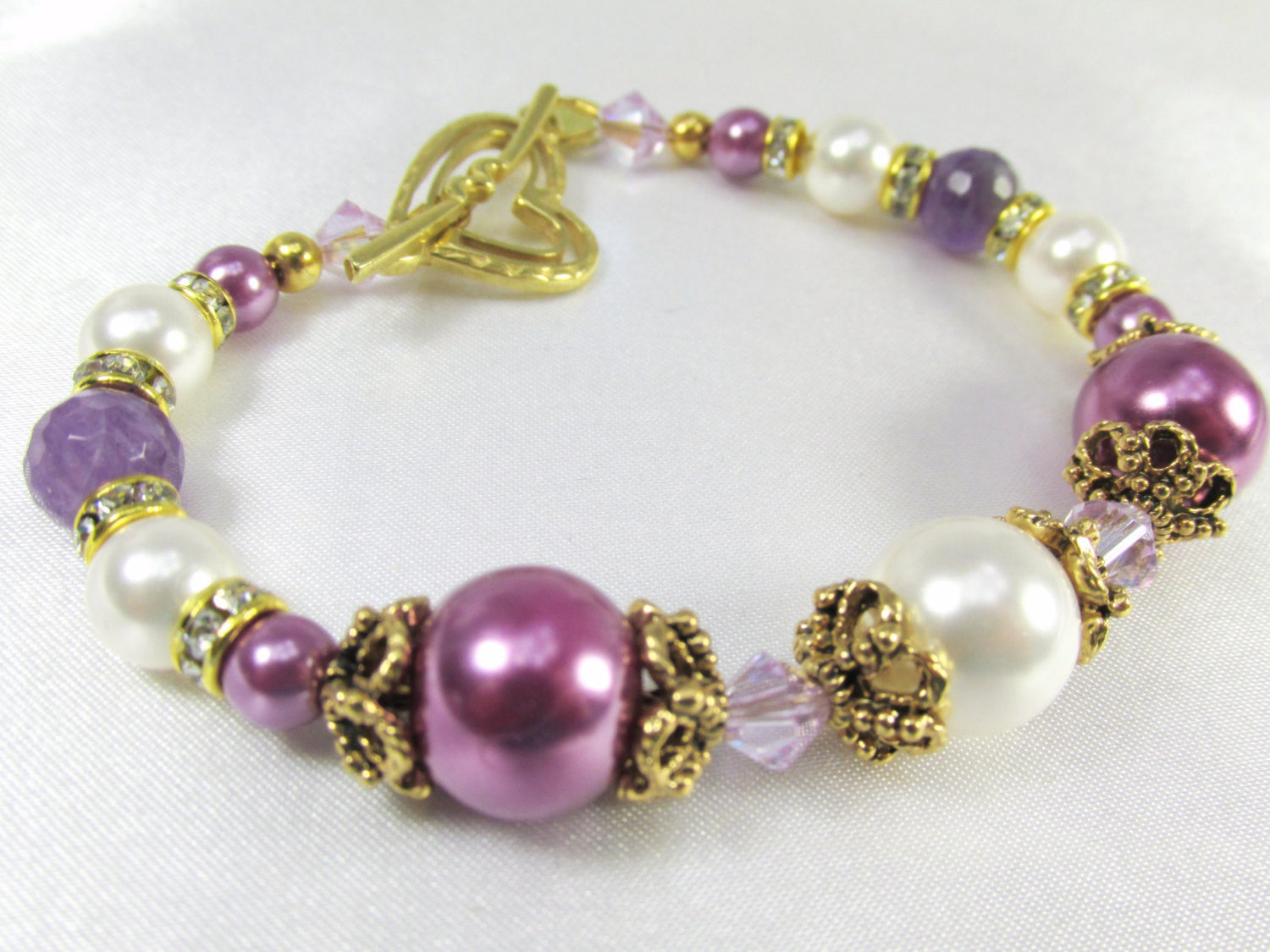 Radiant Orchid Bracelet in Swarovski Pearls, Crystals, and Faceted Amethyst Gemstones Vintage inspired Bridal or Bridemaid Bracelet - Odyssey Creations