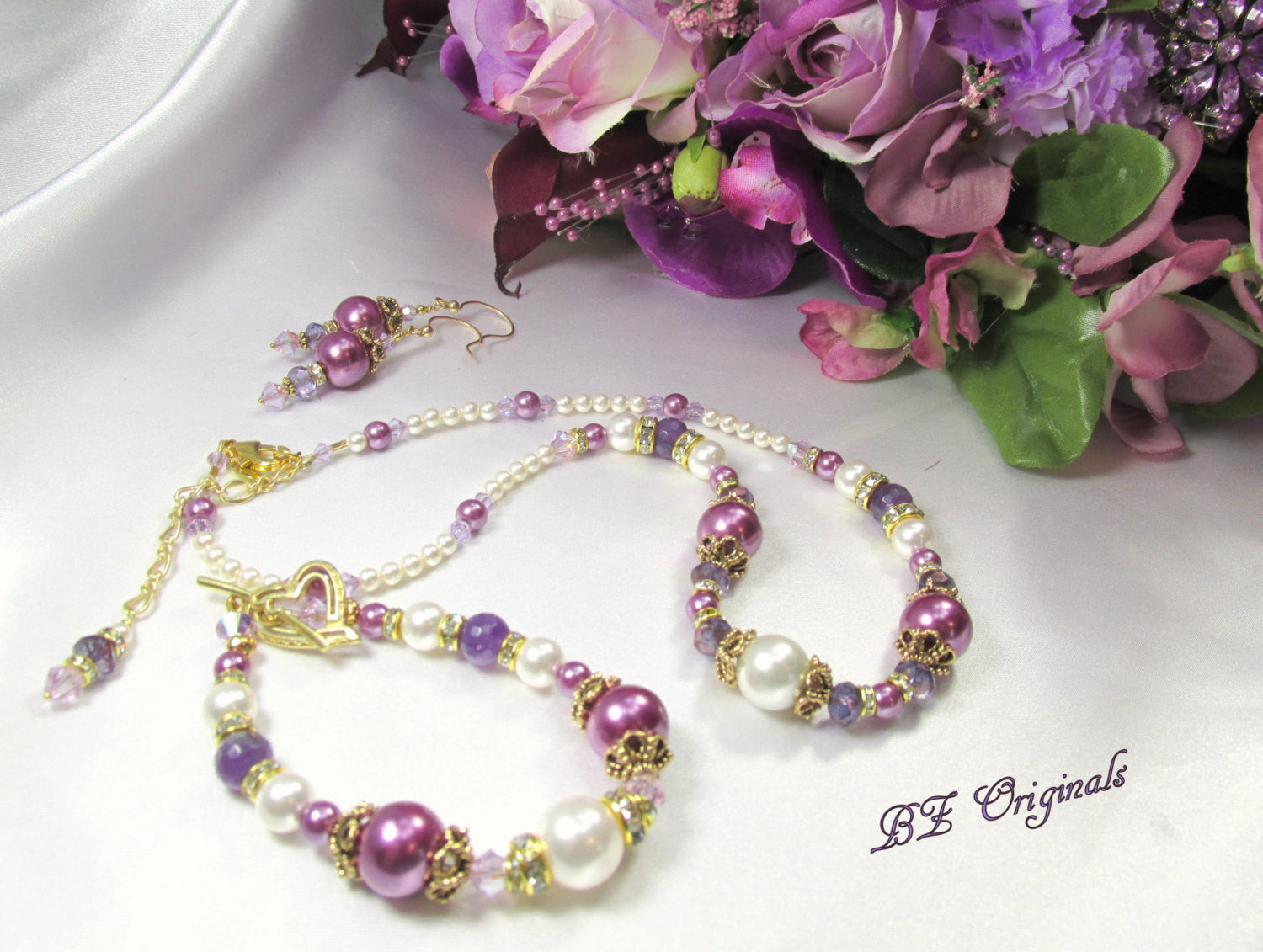 Radiant Orchid Swarovski and Faceted Amethyst Bridal or Bridemaid Necklace and Earring Set - Odyssey Creations