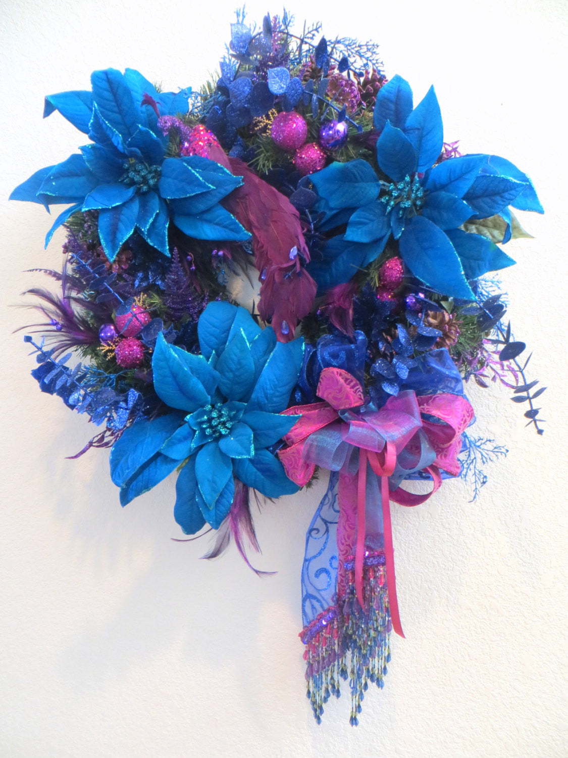 Peacock Holiday Christmas Wreath in Blue Turquoise, Amethyst Purple and Violet Pink with Elegant Beaded Fringe &Fancy Trim Asymetrical Bow - Odyssey Creations