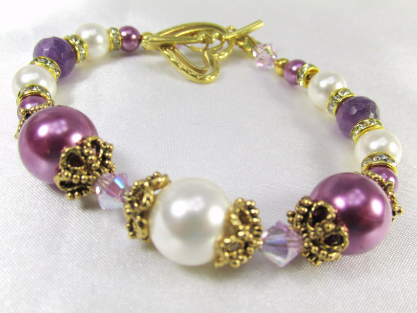 Radiant Orchid Bracelet in Swarovski Pearls, Crystals, and Faceted Amethyst Gemstones - Odyssey Creations