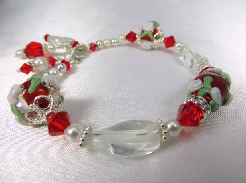 Red and White Lampwork Glass Flower Bracelet with Swarovski, Pearls on Sterling Silver - Odyssey Creations