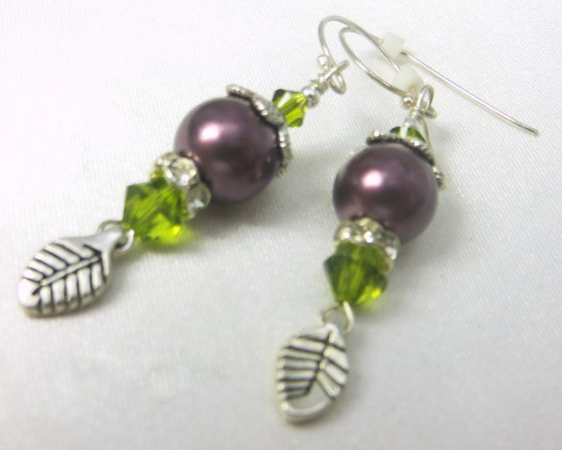 Green and Purple Plum Swarovski Pearl Earrings with Silver Leaves - Odyssey Creations