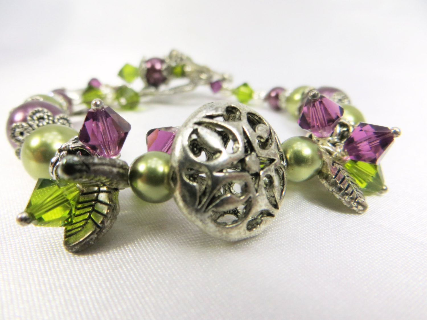 Swarovski Green Crystals and and Burgundy Purple Pearls ornate Bracelet with charms - Odyssey Creations