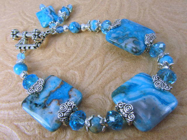 Crazy Blue Agate and Czech Glass rondelle silver and ocean blue turquoise bracelet - Odyssey Creations