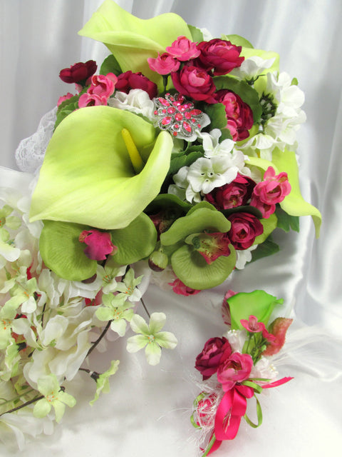 Fuchsia Hot Pink and Lime Green Calla Lily Victorian Style Beaded Cascading Bridal Brooch Bouquet and Boutoneirre Set - Odyssey Creations