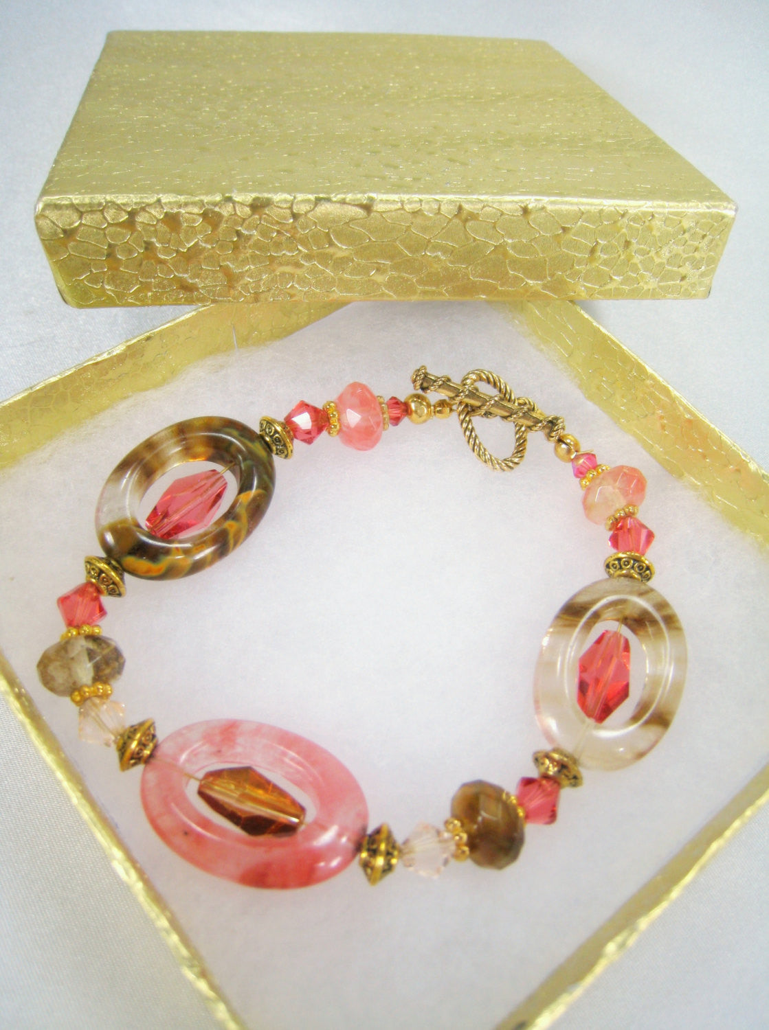 Desert Coral Rose, Brown, Ivory Bracelet in Swarovski and Quartz on Gold - Odyssey Creations