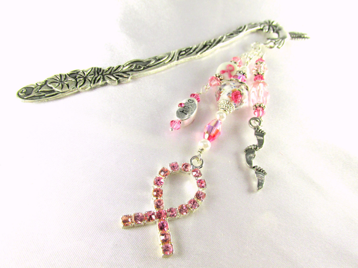 Pink Breast Cancer Awareness Large Beaded Bookmark with Silver Hummingbird & Lampwork Glass Beads - Odyssey Creations