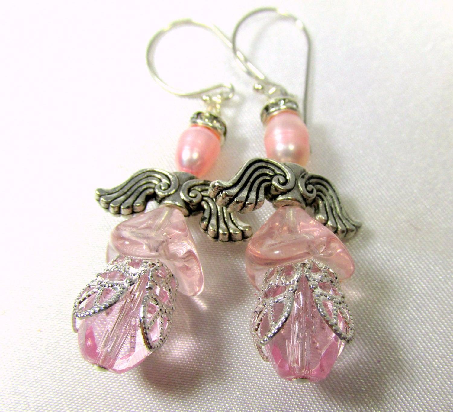 On Sale - Pink Angel Earrings on Sterling Silver Wires with Freshwater Pearls and Czech Glass Dresses - Odyssey Creations