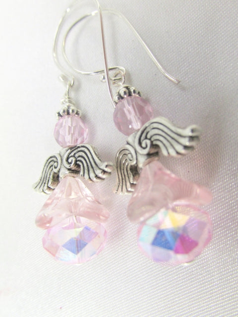 On SALE - Angel Earrings in Pale Pink AB on Bali Sterling Silver Wires with Antiique Silver wings - Odyssey Creations