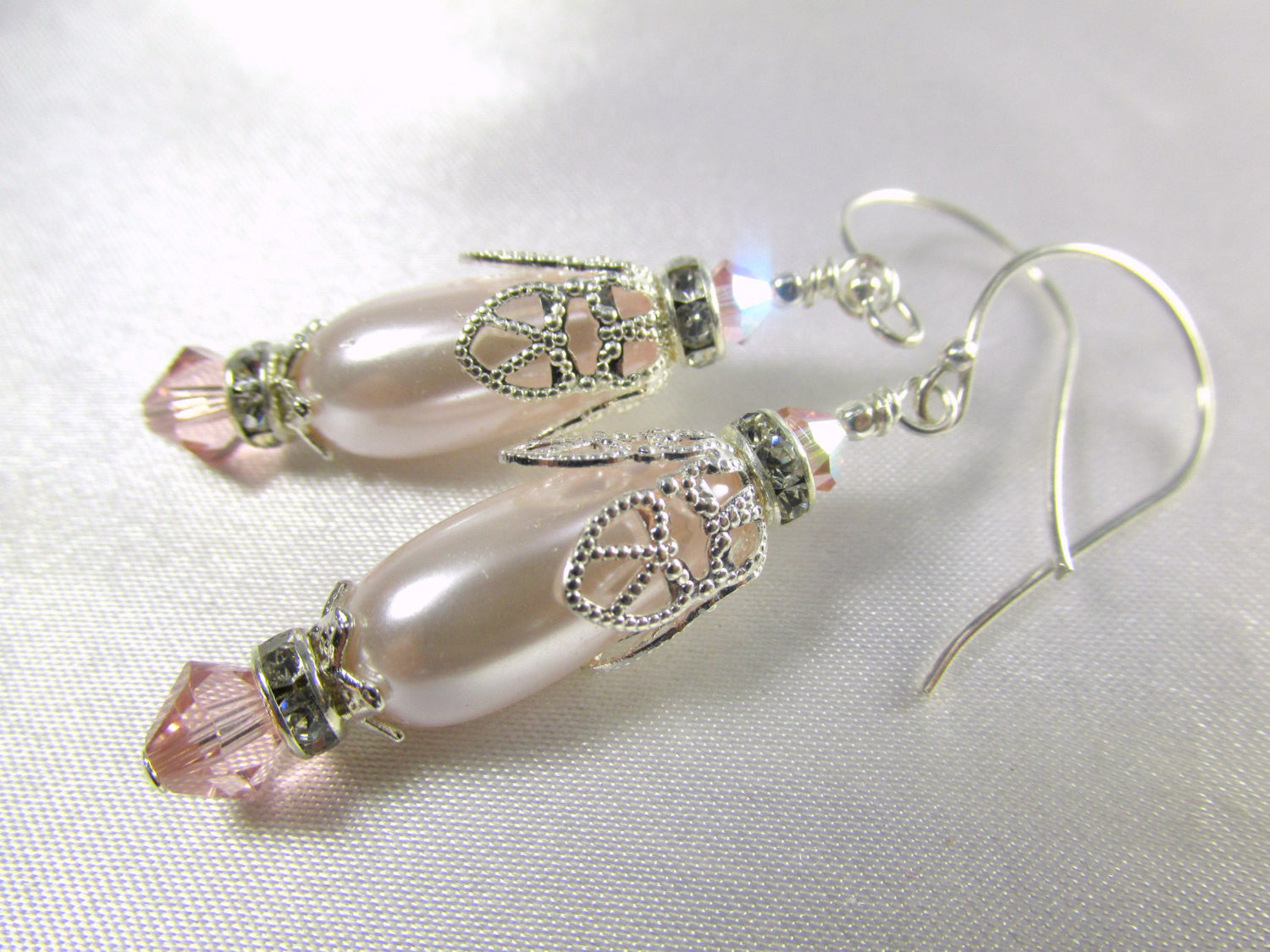 Vintage Pink Pale Blush Pink Pearl and Silver Pearl Teardrop Bridal or Bridesmaid Earrings on Sterling Silver Wires - Odyssey Creations