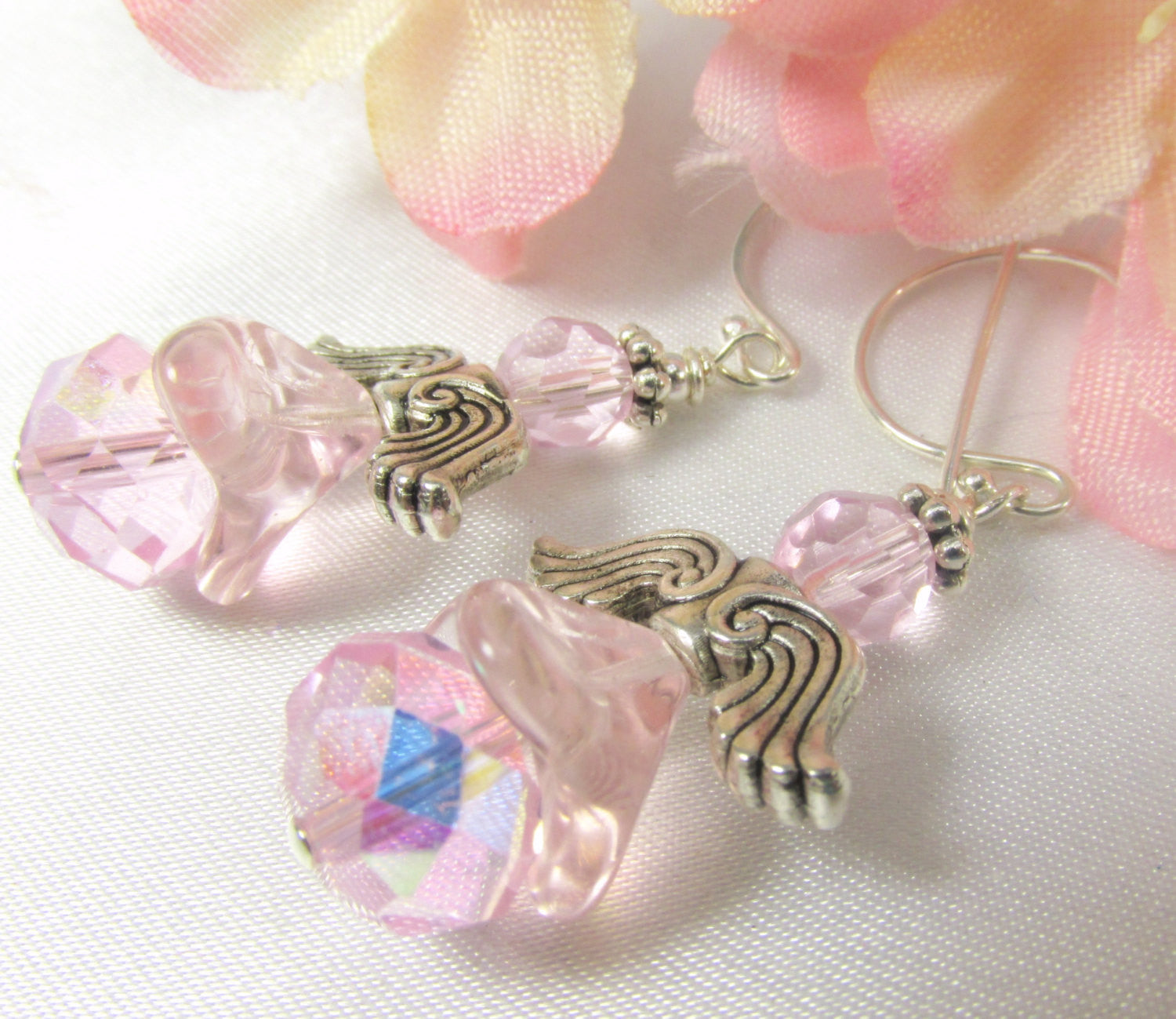 Angel Earrings in Pale Pink AB on Bali Sterling Silver Wires with Antiique Silver wings - Odyssey Creations