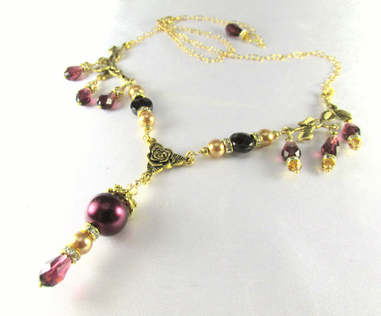 Blackberry Burgundy and Light Gold Swarovski Pearls and Crystals and Garnets Necklace - Odyssey Creations