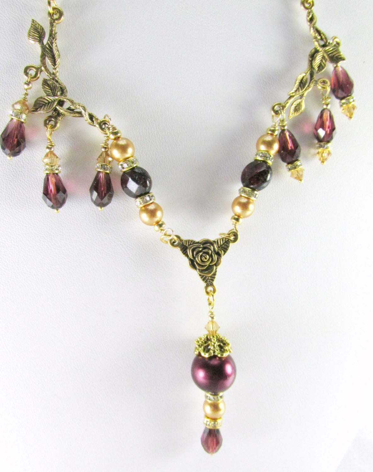 Vintage inspired Bridal or Bridemaid Necklace in Blackberry Burgundy and Light Gold Swarovski Pearls, Crystals, and Faceted Garnet gemstones - Odyssey Creations