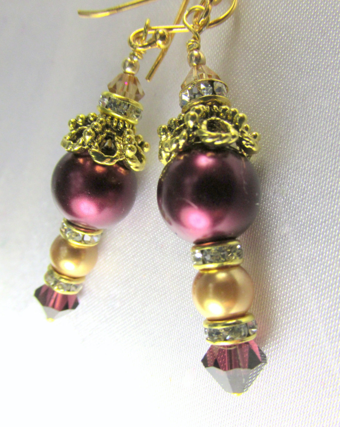 Bridal or Bridemaid Earrings in Blackberry Burgundy and Light Gold Swarovski Pearls, Crystals - Odyssey Creations