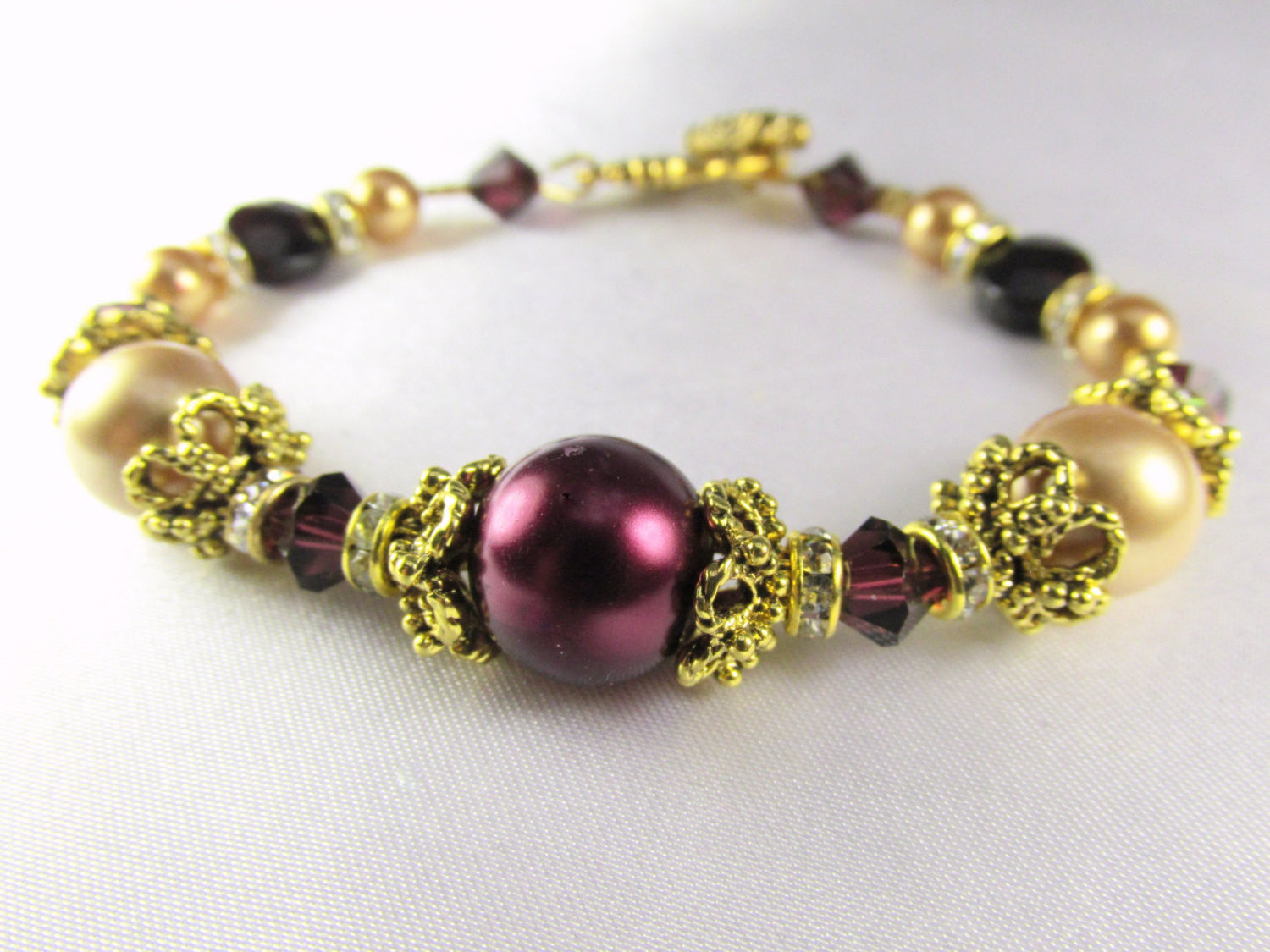 Bridal or Bridemaid Bracelet in Blackberry Burgundy and Light Gold Swarovski Pearls, Crystals - Odyssey Creations