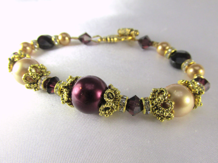 Blackberry Burgundy and Light Gold Swarovski Pearls and Crystals Bracelet - Odyssey Creations