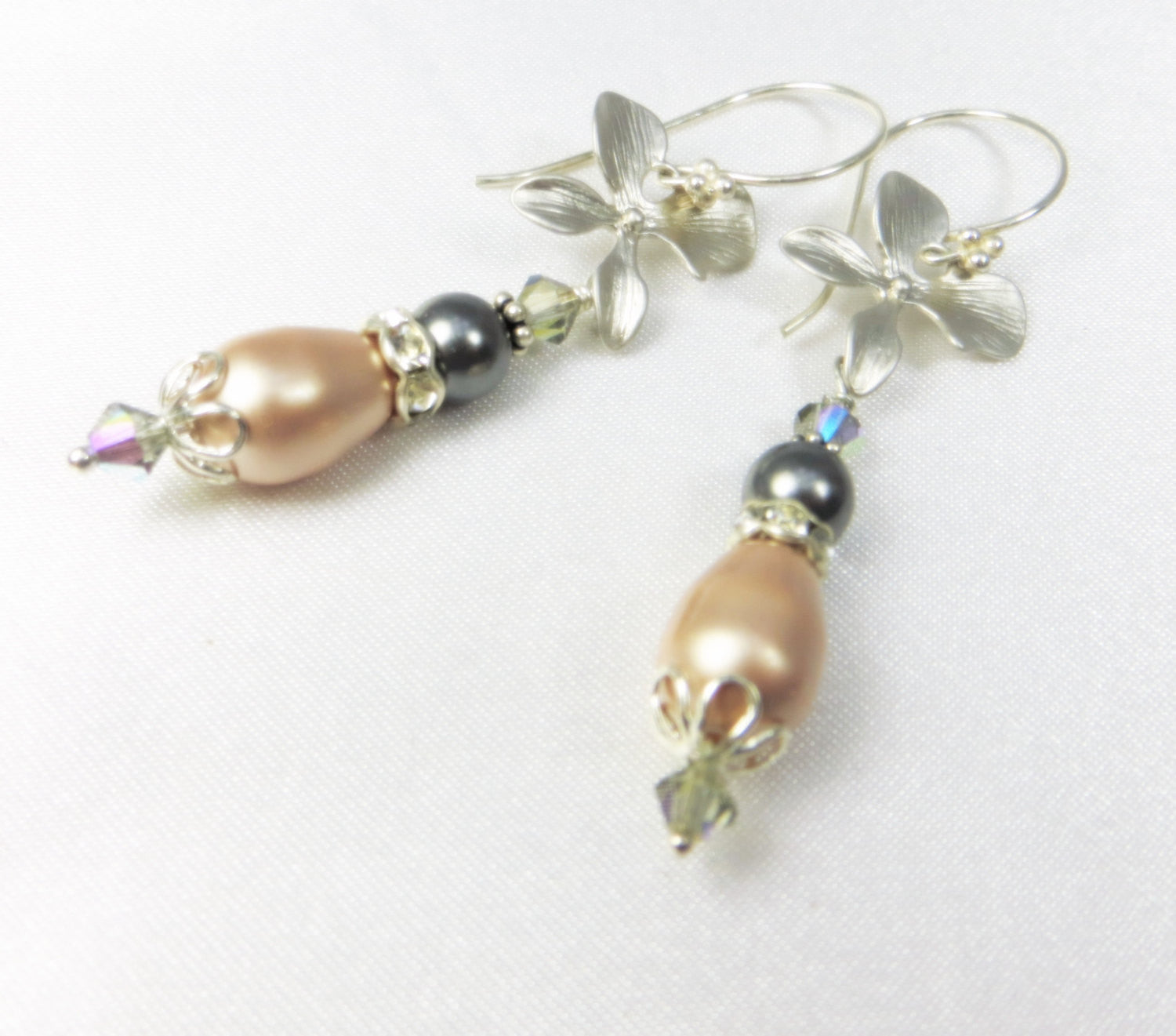 Bridal or Bridesmaid Silver Orchid Earrings with Swarovski Vintage Pink Champagne and Slate Gray Pearls on sterling silver - Odyssey Creations