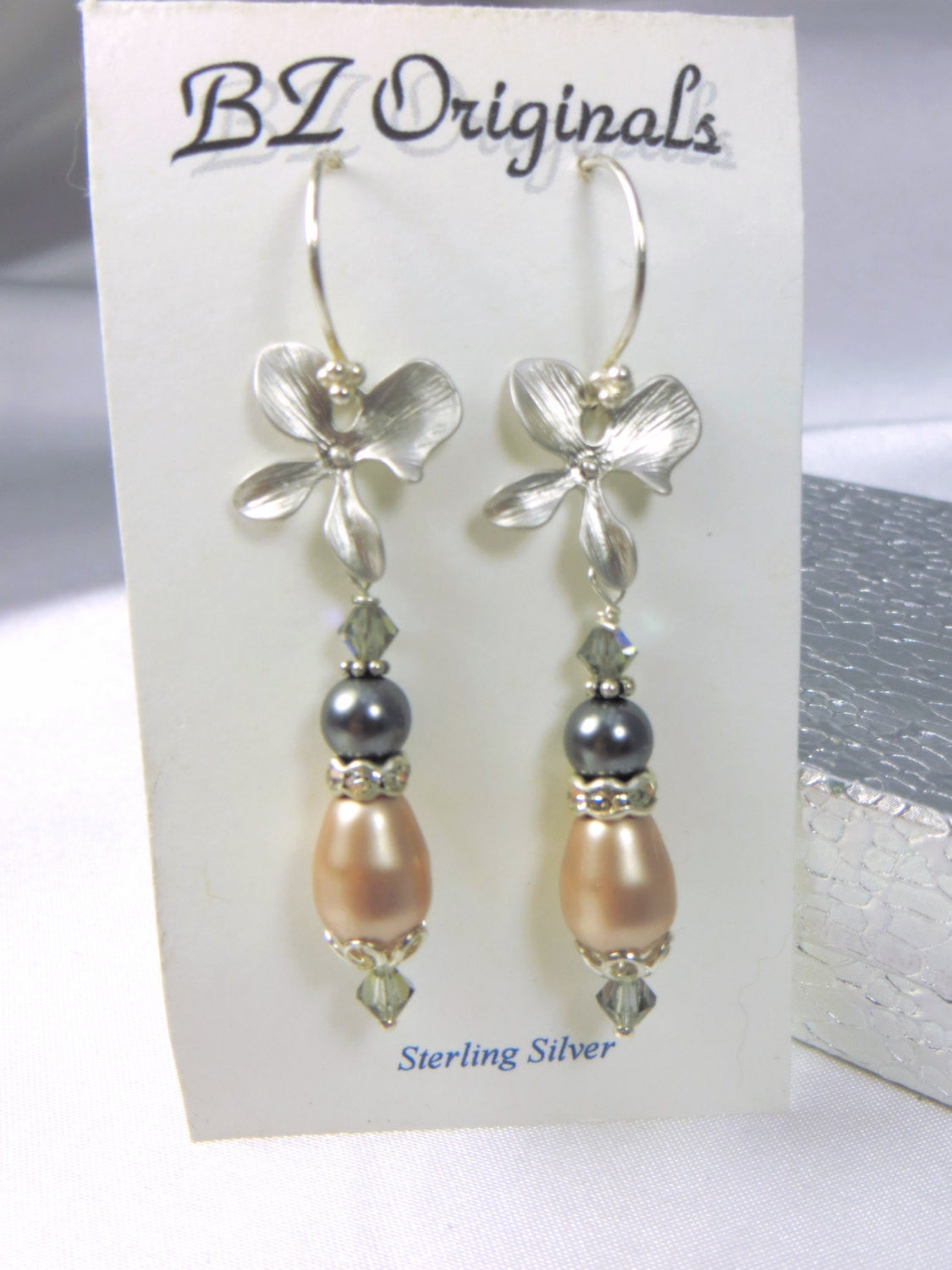 Silver Orchid Earrings with Swarovski Vintage Pink and Slate Gray Pearls - Odyssey Creations