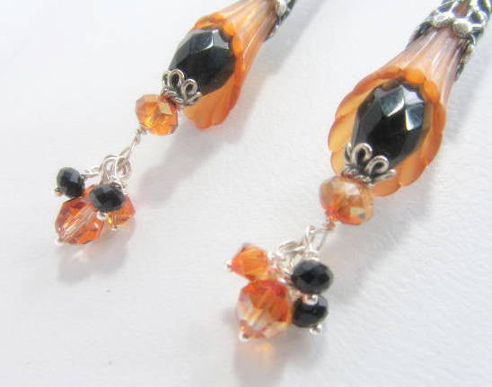 Long Gold Flower Earrings with and Black Faceted Agate Stones and Filigree Antique Silver - Odyssey Creations
