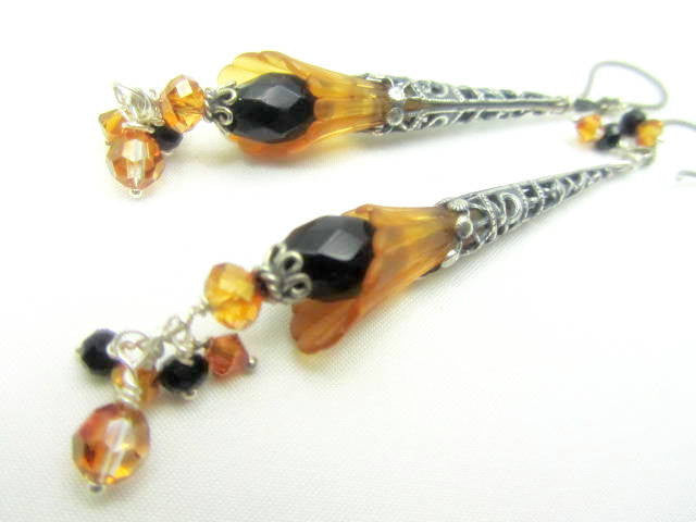 Long Gold Flower Earrings with and Black Faceted Agate Stones and Filigree Antique Silver with Bali Sterling Silver wires - Odyssey Creations