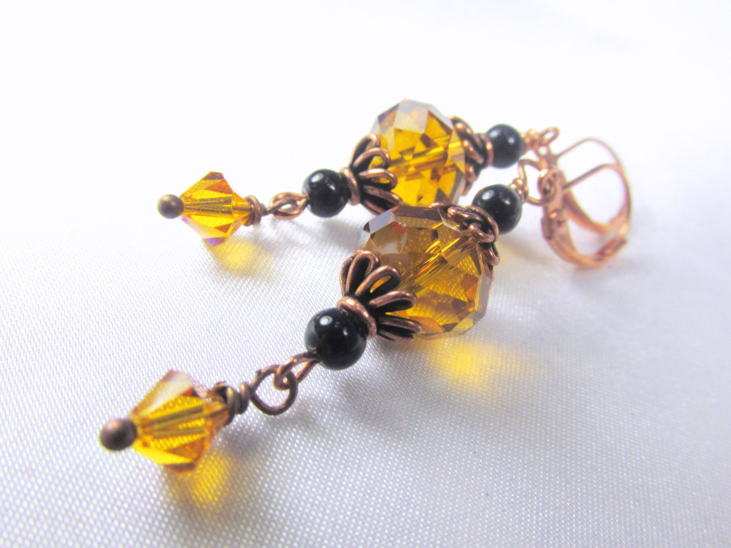 Black Agate and Gold Topaz Earrings on Copper - Odyssey Creations