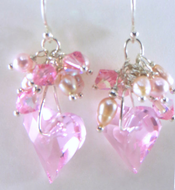 Wire Wrapped Swarovski Wild Heart in Pink Rose on all fine sterling silver Bridal or Bridesmaid Earrings - Odyssey Creations